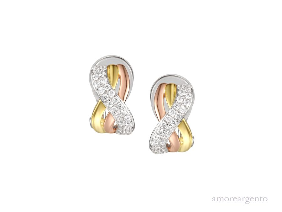Amore Silver & Gold Plated Cubic Zirconia Clip On Earrings