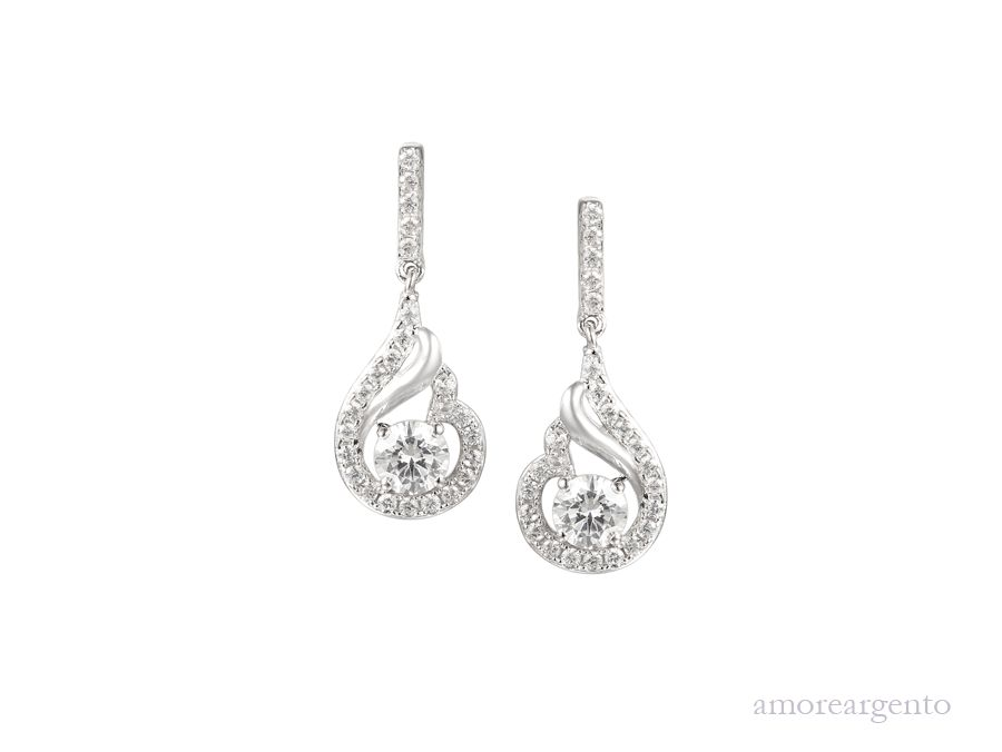 Amore Silver Cubic Zirconia Drop Earrings