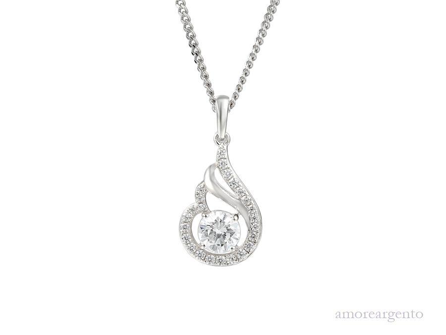 Amore Silver Cubic Zirconia Pendant & Chain