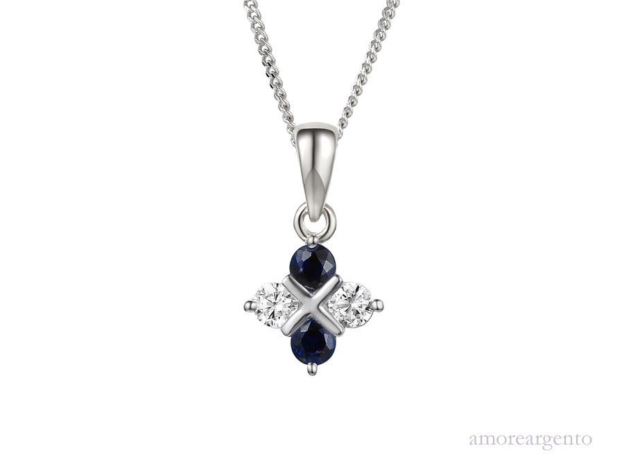 Amore Silver Sapphire Pendant & Chain