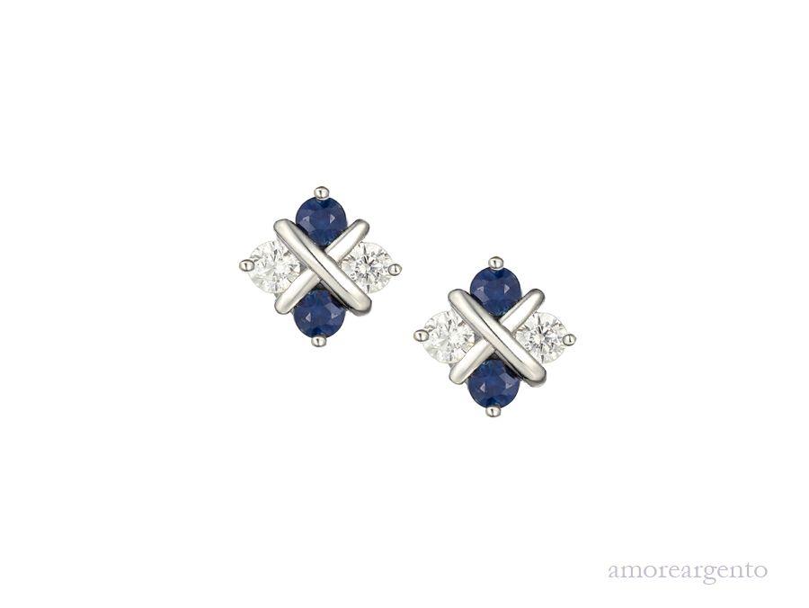 Amore Silver Sapphire & Cubic Zirconia Stud Earrings