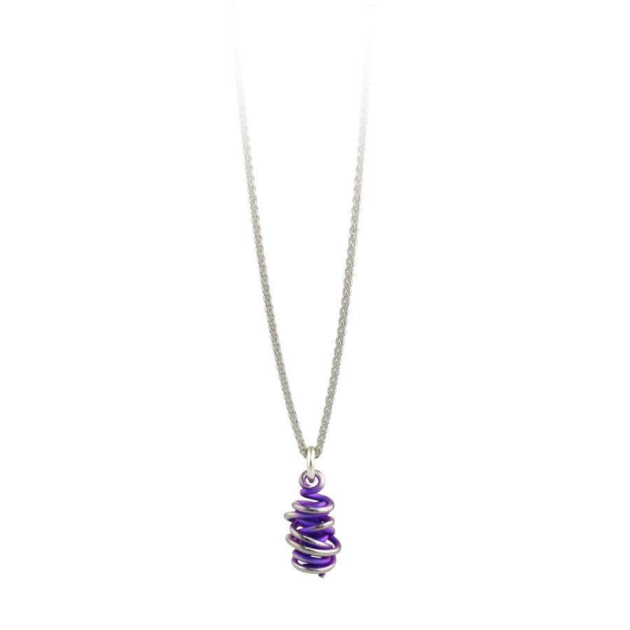 "Ti2 Titanium Chaos Purple Drop Pendant & 16"" Chain"