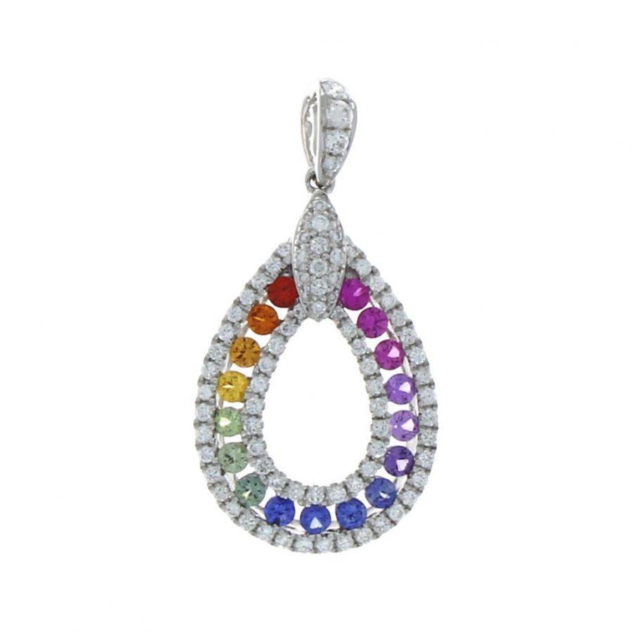 18ct White Gold Multi Colour Sapphire and Diamond Pendant