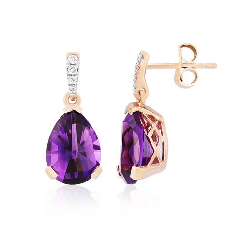 9ct Rose Gold Amethyst and Diamond Drop Earrings