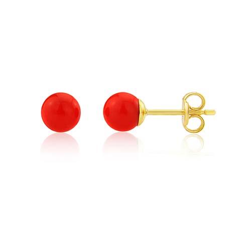 9ct Coral Ball Stud Earrings