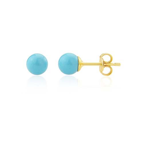 9ct Turquoise Ball Stud Earrings