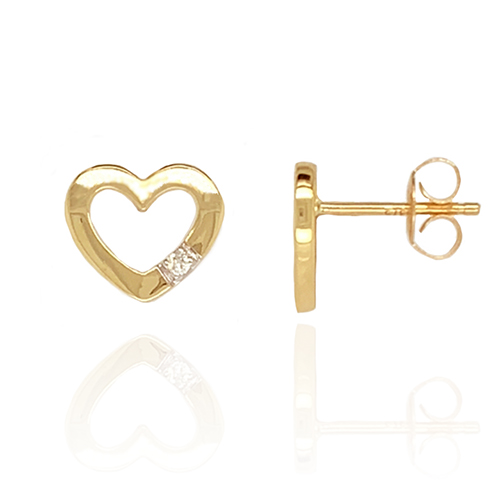 9ct Gold Heart with Diamond Stud Earrings