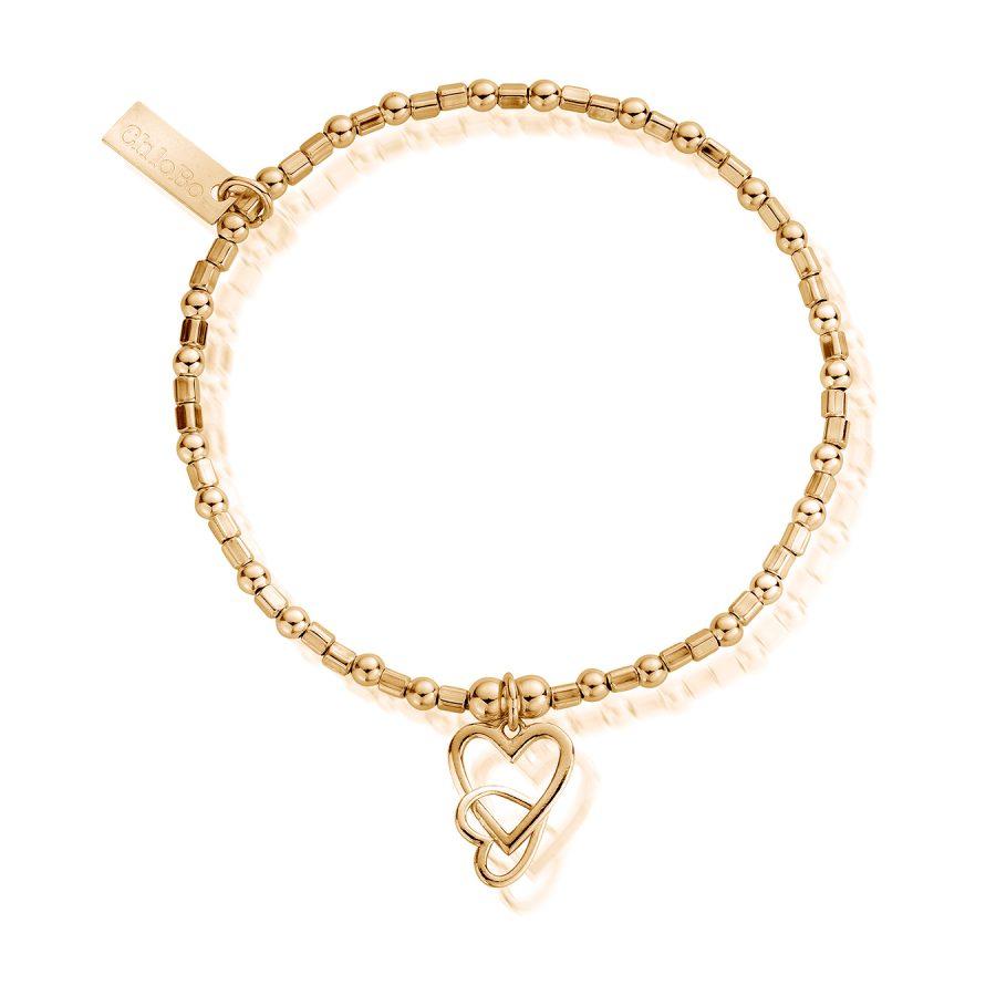 ChloBo Silver Gold Plated Mini Cube Love Heart Bracelet