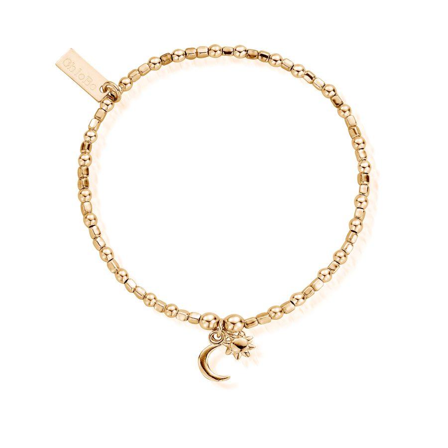 ChloBo Silver Gold Plated Mini Cube Dainty Moon and Sun Bracelet