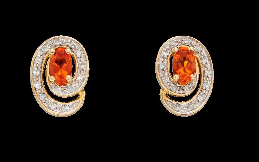 9ct Gold Fire Opal and Diamond Stud Earrings