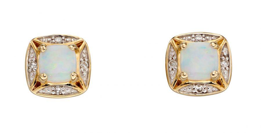 9ct Gold Opal and Diamond Stud Earrings