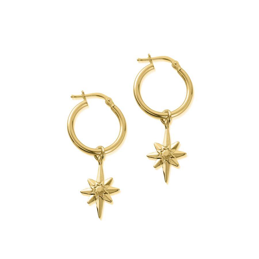 ChloBo Silver Gold Plated Lucky Star Hoop Earrings