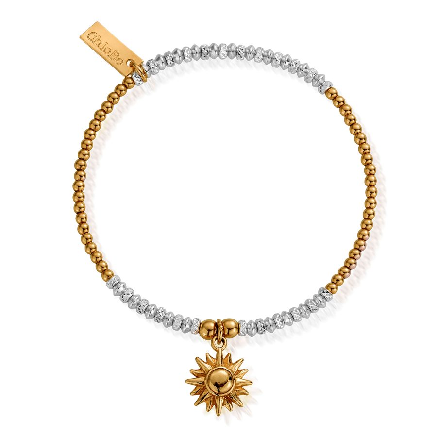 ChloBo Silver Gold Plated Sparkle Sun Bracelet