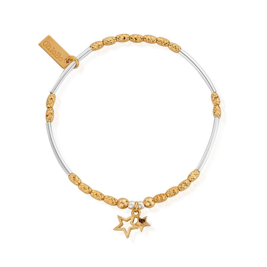 ChloBo Silver Gold Plated Double Star Bracelet