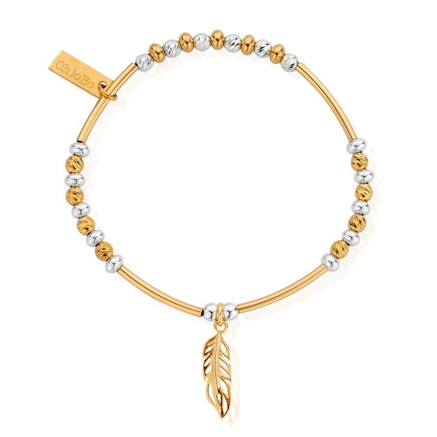 ChloBo Silver Gold Plated Filigree Feather Bracelet
