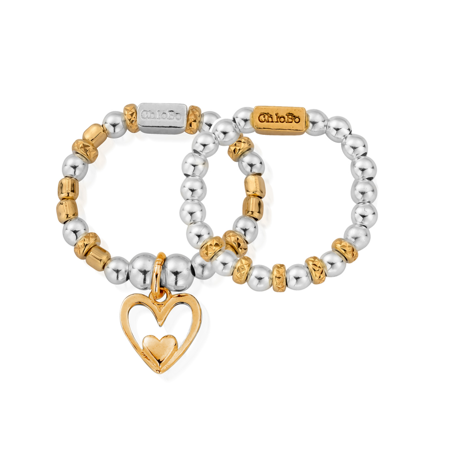 Chlobo Silver and Gold Plated Inner Love Set of 2 Rings
