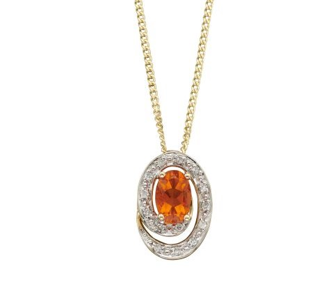 9ct Gold Fire Opal and Diamond Pendant