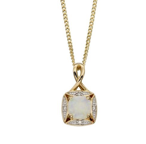 9ct Gold Opal and Diamond Pendant