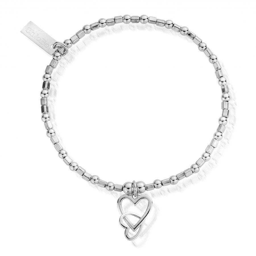 ChloBo Silver Mini Cube Interlocking Love Heart Bracelet