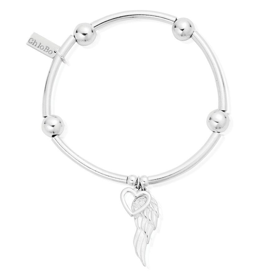 ChloBo Silver Noodle Open Heart and Angel Wing Bracelet