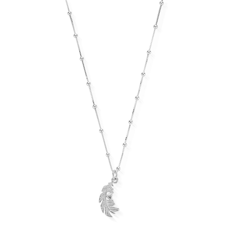 ChloBo Silver Heart in Feather Bobble Necklace