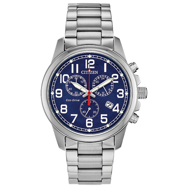 Citizen Gents Bracelet Watch midnight blue dial with stainless steel case Eco-Drive