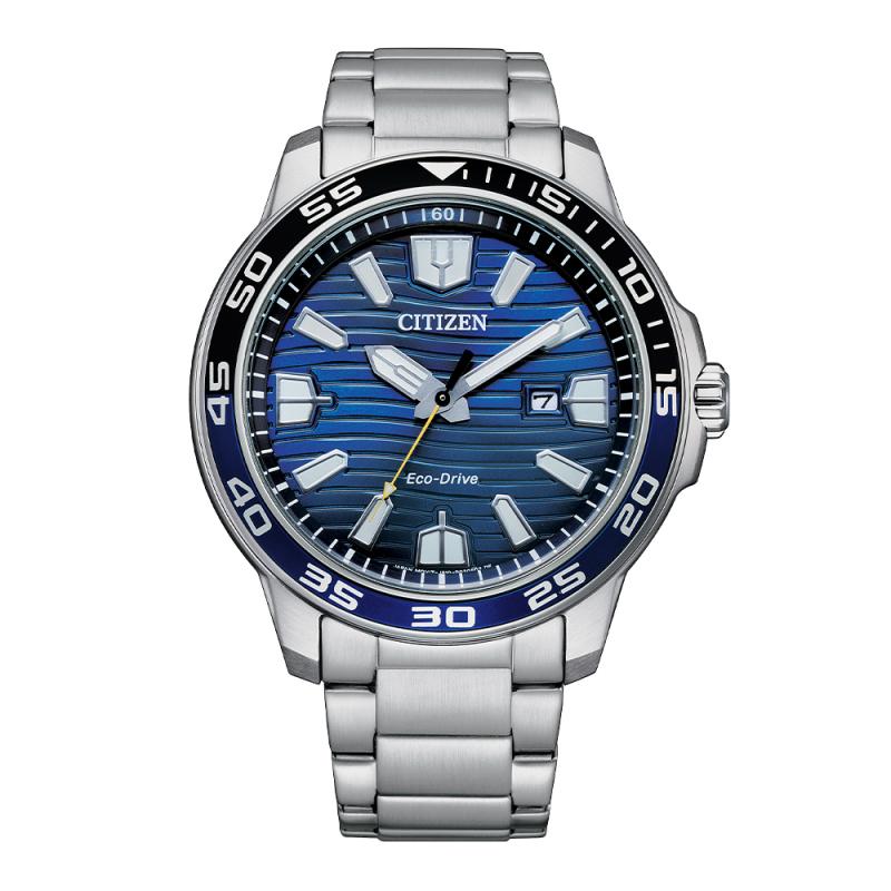 Citizen Gents Bracelet Watch Silver Blue and Black Dial