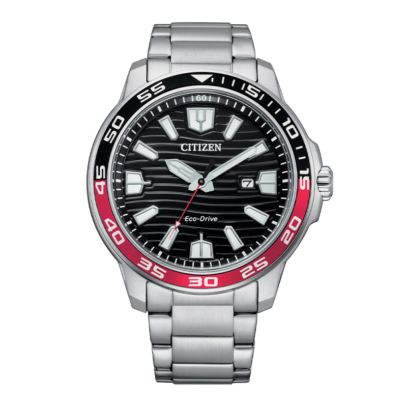 Citizen Gents Bracelet Watch Silver Red and Black Dial