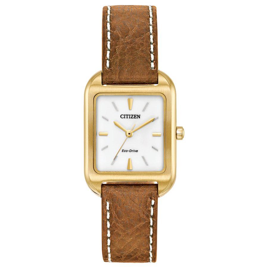 Citizen Ladies Bracelet Watch brown leather strap