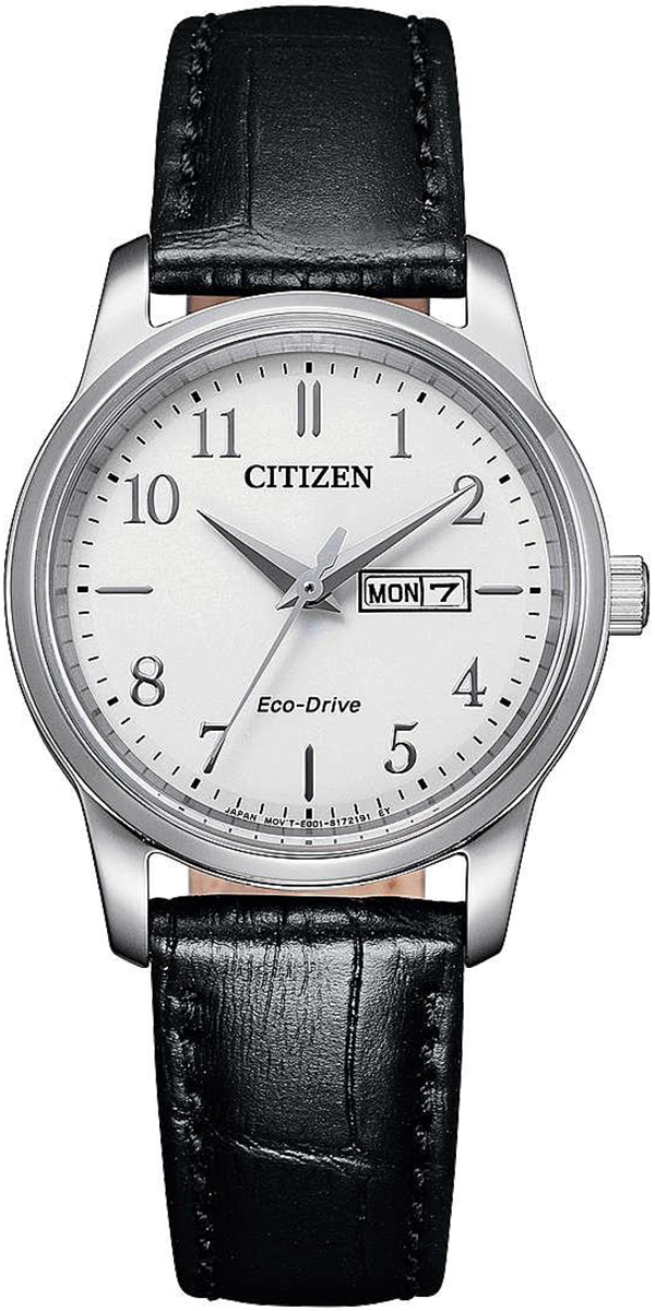 Citizen Ladies Strap Watch stainless steel case black leather strap white dial Eco-Drive