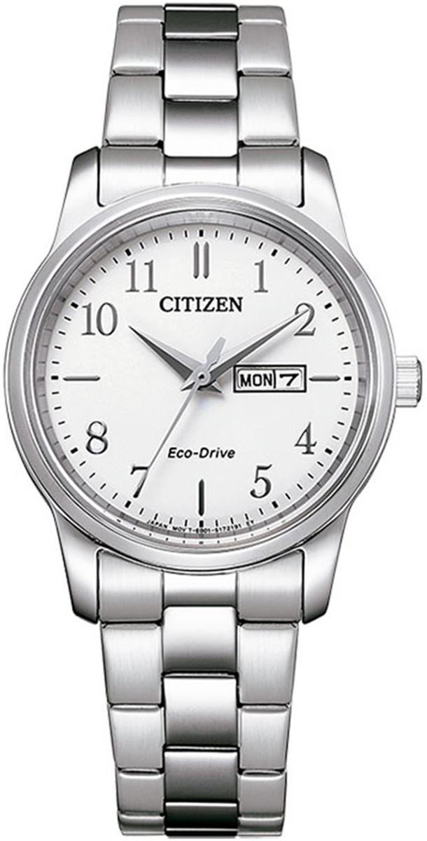 Citizen stainless steel white dial Ladies Bracelet Watch Eco-Drive