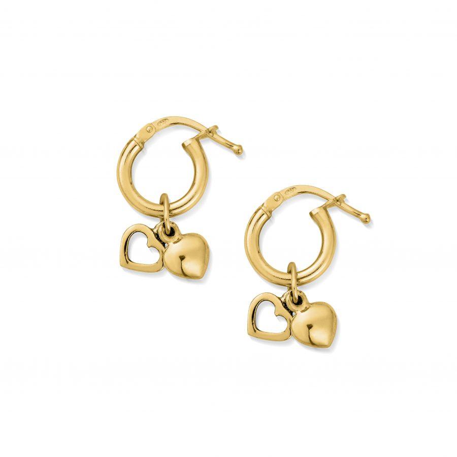 ChloBo Gold Plated Double Heart Small Hoop Earrings