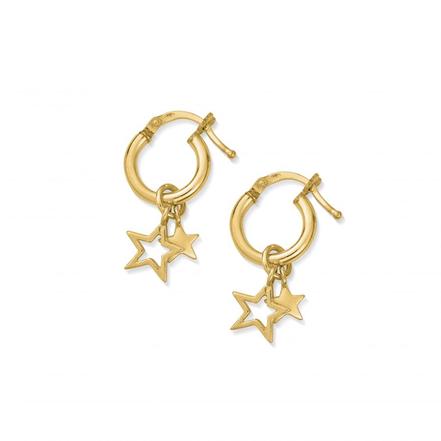 ChloBo Gold Plated Double Star Small Hoop Earrings