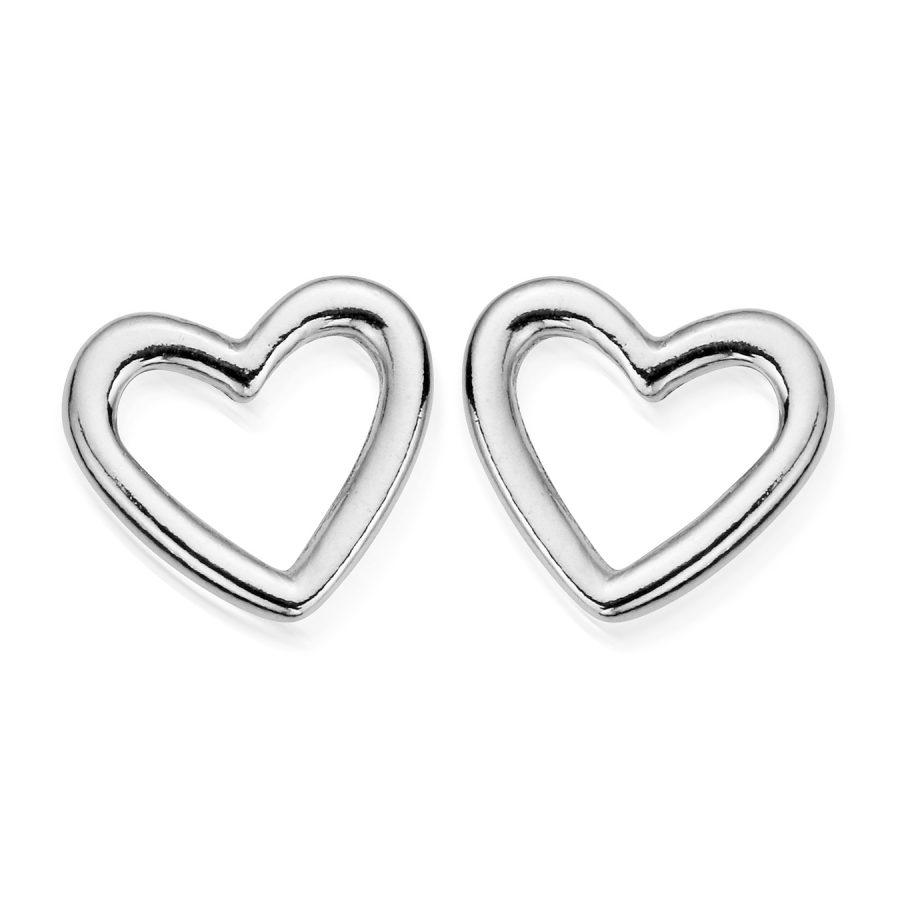 ChloBo Silver Open Heart Stud Earrings