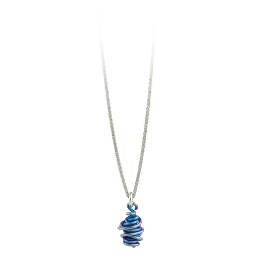 Ti2 Titanium Chaos Blue Drop Pendant and Chain 16 inch