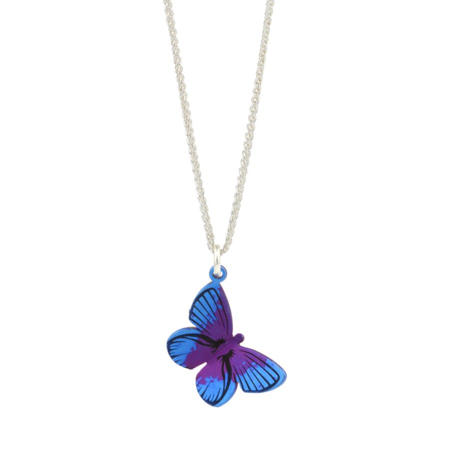 Ti2 Titanium Maroon Blue Butterfly Pendant and Silver Chain 16 inch