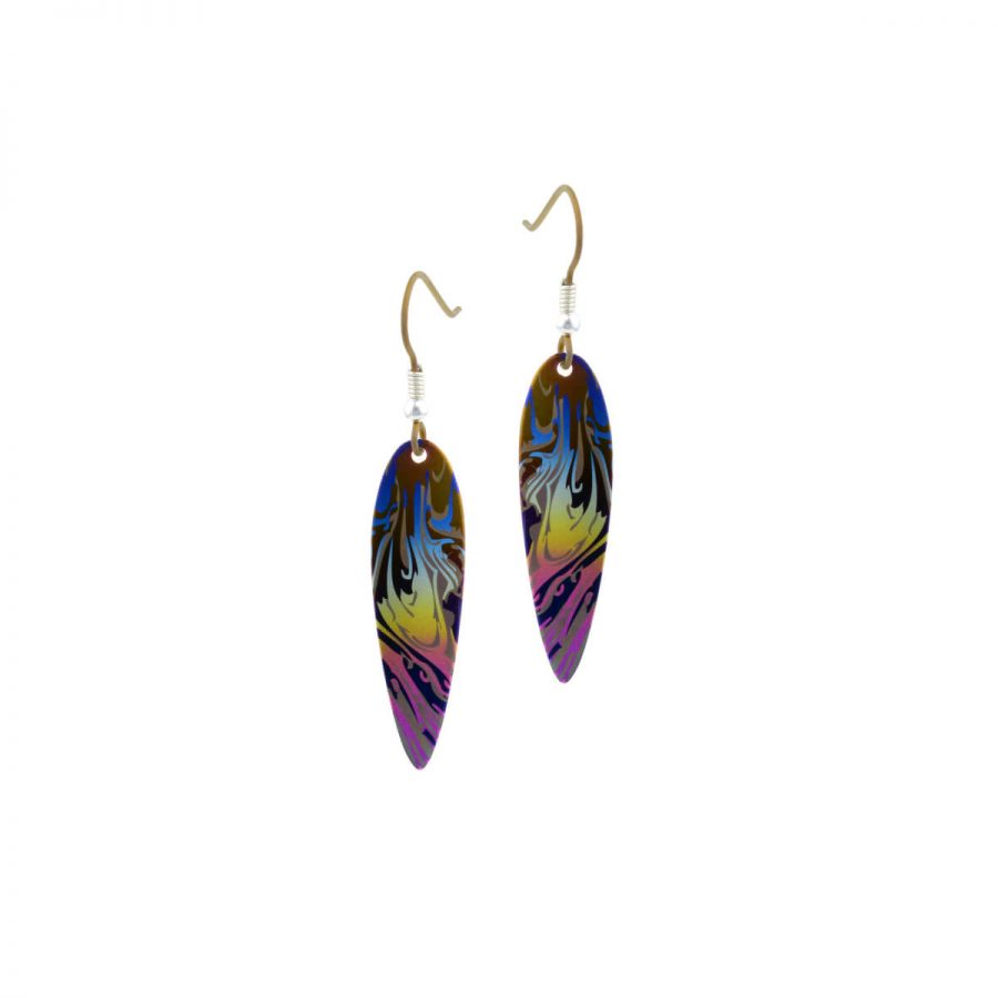 Ti2 Titanium Curved Drop Rainbow Earrings