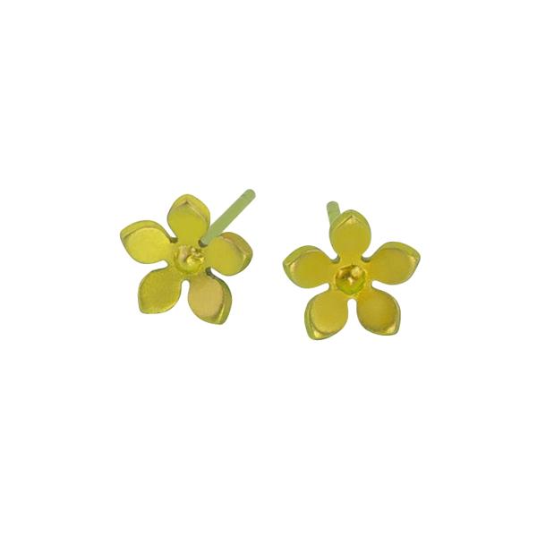 Ti2 Titanium 8mm Yellow Flower Stud Earrings