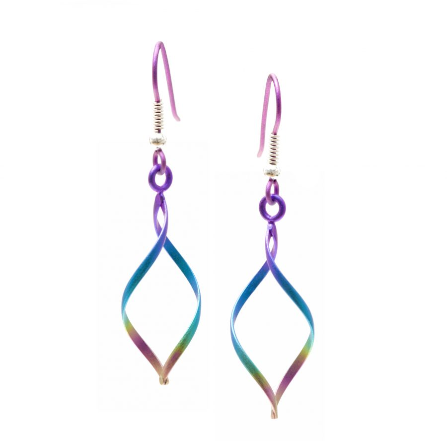 Ti2 Titanium Wireworks Rainbow Drop Earrings