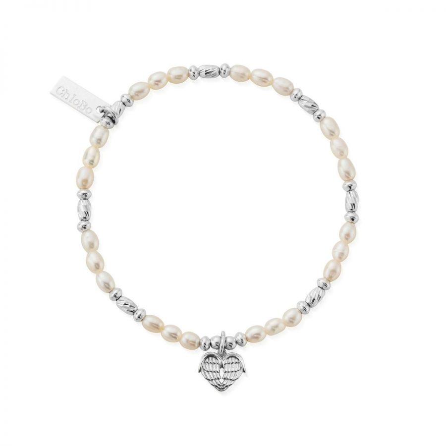 ChloBo Silver and Pearl Heart of Love Bracelet